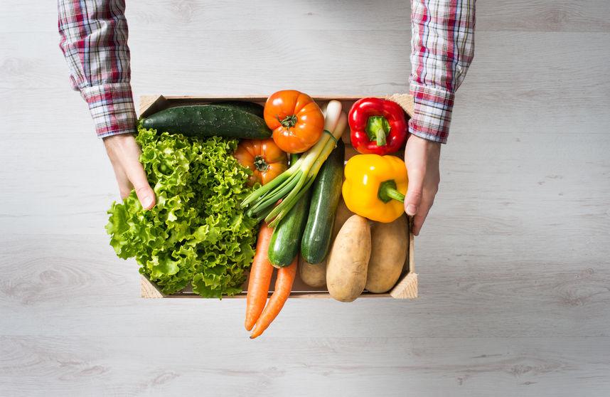 Cesta de verduras de caserio